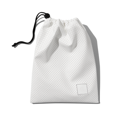 beauty's got soul white drawstring bag made from vegan leather closed